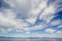 Intense cloud build up over Isla Santa Catalina, Baja California Sur, Mexico, - stock photo
