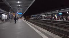 German ICE train arriving Essen subway station Stock Footage