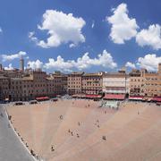 Piazza del Campo, Santa Maria Assunta Cathedral behind, Siena, UNESCO World Stock Photos