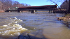 A long covered bridge in Ashtabula County, Ohio. Stock Footage