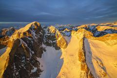 Aerial view of peak Cengalo at sunset, Masino Valley, Valtellina, Lombardy, - stock photo