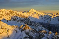 Aerial view of Mount Disgrazia at sunset, Masino Valley, Valtellina, Lombardy, Stock Photos