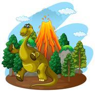Dinosaur and volcano eruption Stock Illustration