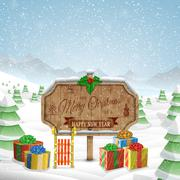 Christmas greeting board vector illustration. - stock illustration