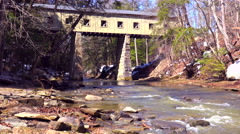 A beautiful covered bridge over a river in Ohio. Stock Footage
