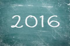 Happy new year 2016 written on chalkboard. Kuvituskuvat
