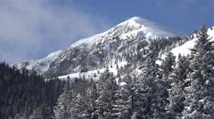 4K Alpine View in Winter, Mountain Scene in Snow, Day, Conifer Forest Landscape Stock Footage
