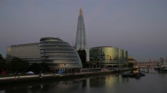 Stock Video Footage of Pan from the Shard to the City of London at Dawn