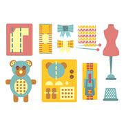 Handicraft and Sewing Icons in Flat Style, Vector Illustration Set - stock illustration