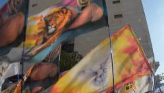 Waving of different colorful banners - the Lion of Judah Stock Footage