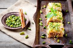 Turkish nut and phyllo pastry dessert, baklava - stock photo