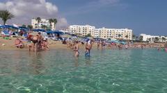 Beach in Protaras, Cyprus Stock Footage