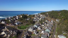 Aerial view of coastal vacation home community Stock Footage