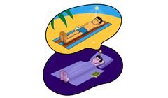 dream about holiday - stock illustration