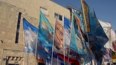Waving of different colorful banners - stock footage