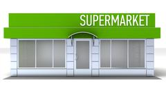 Illustration of shop or minimarket kiosk exterior - stock illustration