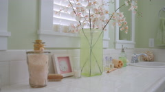 Interior of beach home bathroom sink with coastal d_cor Stock Footage