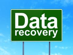 Data concept: Data Recovery on road sign background - stock illustration