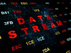 Information concept: Data Stream on Digital background Piirros