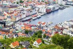 View to the buildings of Bergen from Floyen hill in Bergen, Norway. Stock Photos