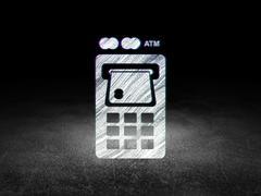 Banking concept: ATM Machine in grunge dark room Stock Illustration