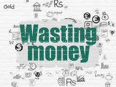 Money concept: Wasting Money on wall background Stock Illustration