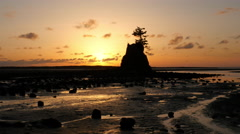 Sunset at Siletz Bay, Lincoln City, Oregon Stock Footage