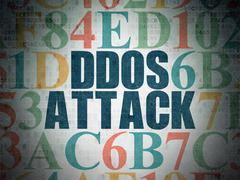 Privacy concept: DDOS Attack on Digital Paper background - stock illustration