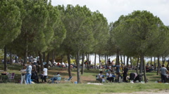 Many People In The Park Ready To Eat - stock footage