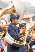 Police School Band Player Performing For The Summer Festivity - stock photo
