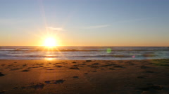 Sunset at beach, Lincoln City, Oregon Stock Footage
