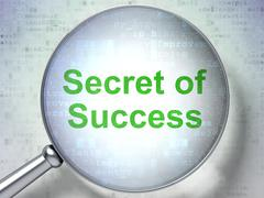 Business concept: Secret of Success with optical glass - stock illustration