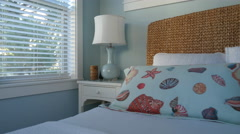 Beach house bedroom Stock Footage