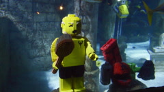 Diving robots made from lego blocks.  Stock Footage