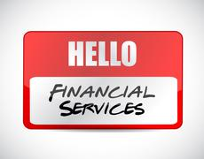 Financial services name tag sign concept Stock Illustration