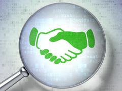 Stock Illustration of Finance concept: Handshake with optical glass on digital background