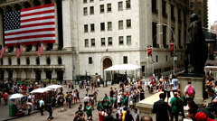 The busy New York Stock Exchange square, New York City - stock footage