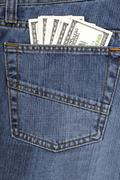 Jeans with American money Stock Photos