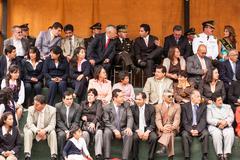 Banos De Agua Santa City Officials Attending Summer Break Ceremony Stock Photos