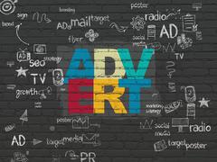 Advertising concept: Advert on wall background - stock illustration
