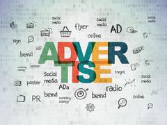 Stock Illustration of Marketing concept: Advertise on Digital Paper background