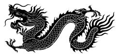 Silhouette of Chinese dragon crawling Stock Illustration