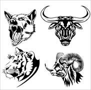 four powerful animals - stock illustration