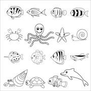 sea and shell animals - stock illustration