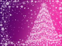 christmas tree pink and violet - stock illustration
