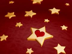 3d golden stars with red heart - stock illustration