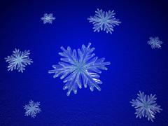 crystal snowflakes in blue - stock illustration