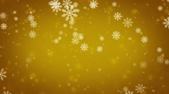 Beautiful Snowflakes - gold winter background Stock Footage