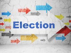 Political concept: arrow with Election on grunge wall background Stock Illustration