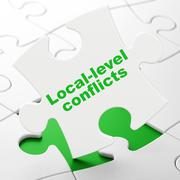 Political concept: Local-level Conflicts on puzzle background - stock illustration